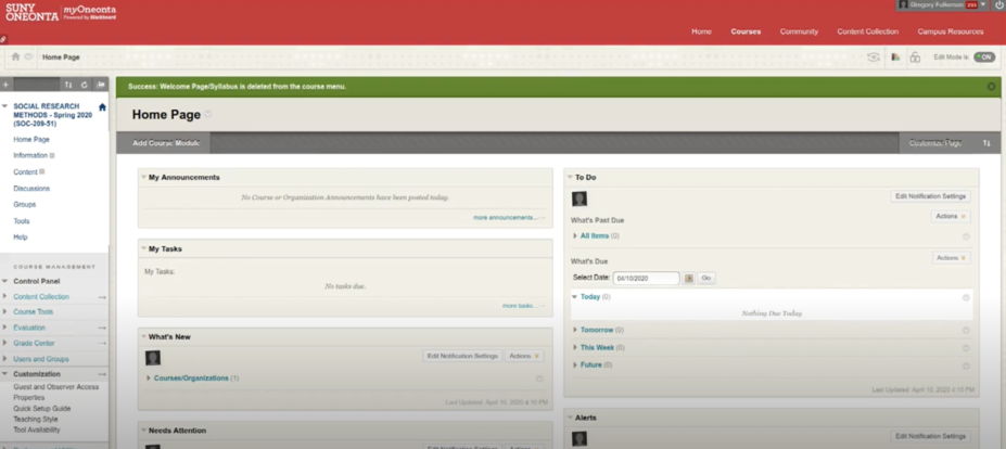Creating A Custom Landing Page in Blackboard